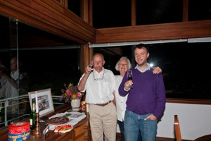 Hans, Rosie and Florian celebrating